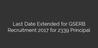 Last Date Extended for GSERB Recruitment 2017 for 2339 Principal