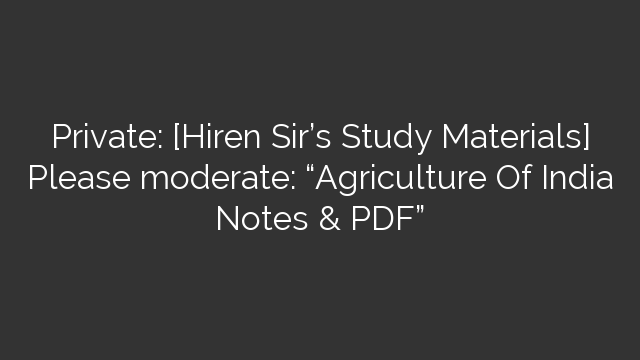 Agriculture In India Pdf