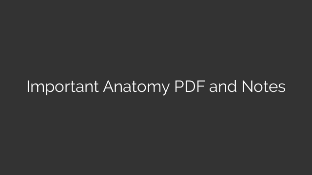 Important Anatomy PDF and Notes