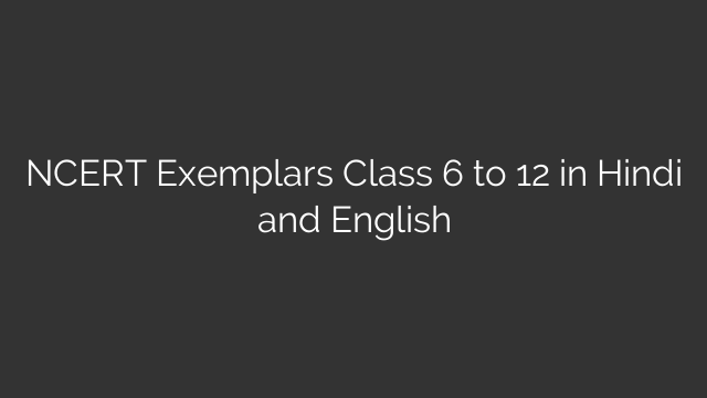 NCERT Exemplars Class 6 to 12 in Hindi and English