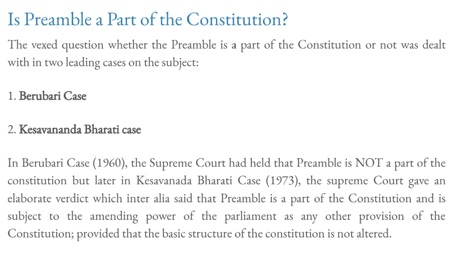 Is Preamble a Part of the Constitution