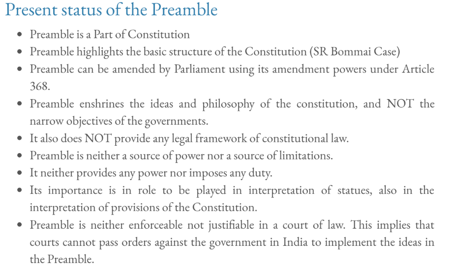 Present status of Preamble of India