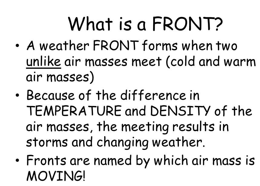 What is Fronts